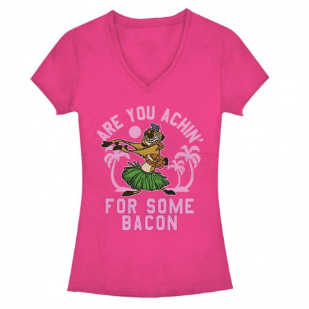 Disney Lion King Bacon Achin Pink Juniors V Neck T-Shirt