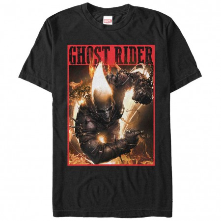Ghost Rider Ghost Rider Flame Black Mens T-Shirt