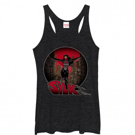 Spiderman Silk Sphere Black Juniors Racerback Tank Top