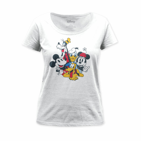 Mickey and Friends Women's White T-Shirt