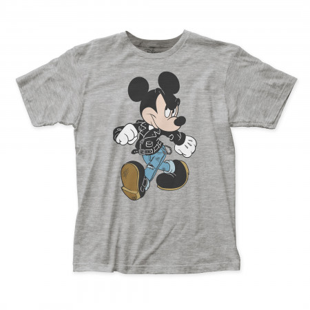 Mickey Leather Jacket Mens' Grey T-Shirt