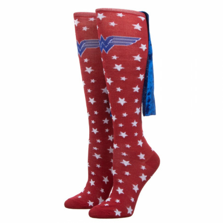 Wonder Woman Velvet Cape Junior Knee-High Socks