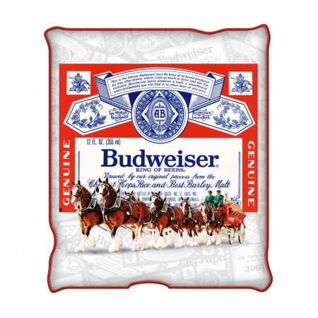 Budweiser Beer Red And White Clydesdale Plush Throw Blanket