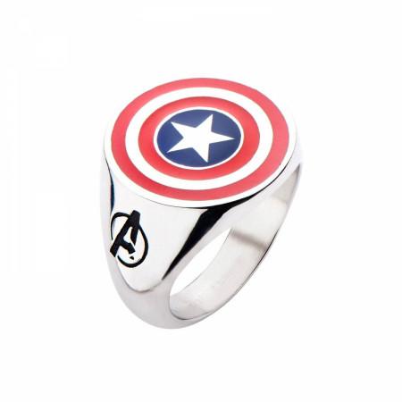 Captain America Logo Stainless Steel Silver Ring