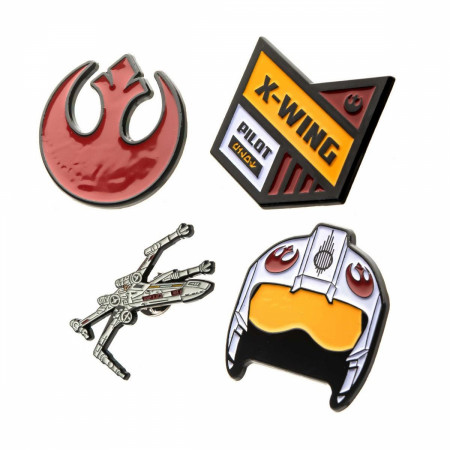 Star Wars Rebel Alliance Symbol and X- Wing Fighter Metal Pin Set