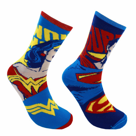 DC Comics Superman Wonder Woman Reversible Crew Socks