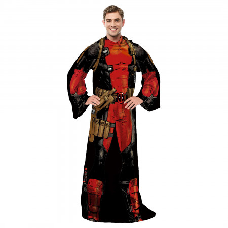 Deadpool Costume Adult Throw Blanket With Sleeves