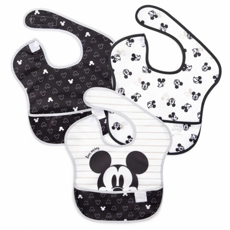 Disney Mickey Mouse Black and White 3 Pack Bib Set