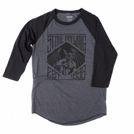 Stone Brewing Founded 1996 Men's Grey Raglan Sleeve Shirt