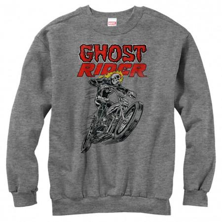 Ghost Rider Hot Head Gray Mens Long Sleeve T-Shirt