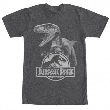 Jurassic Park Raptor Logo Gray T-Shirt
