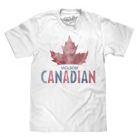 Molson Canadian Men's White Leaf Logo T-Shirt