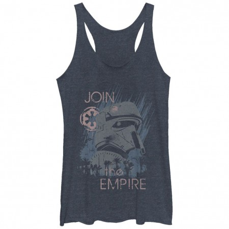 Star Wars Rogue One Join The Empire Blue Juniors Racerback Tank Top