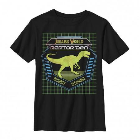 Jurassic World Raptor Den Black Youth T-Shirt