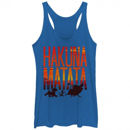 Disney Lion King Sunset Matata Blue Juniors Racerback Tank Top