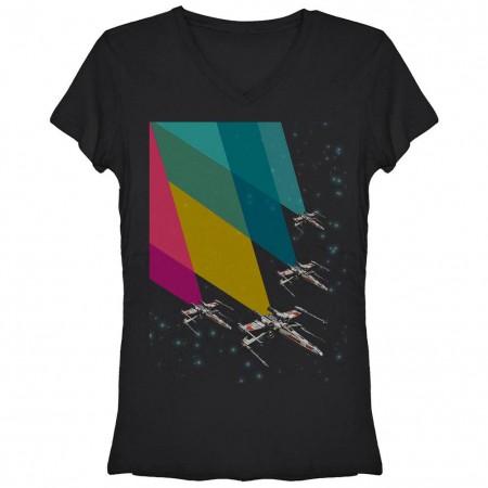 Star Wars Chroma Flight Black Juniors V Neck T-Shirt