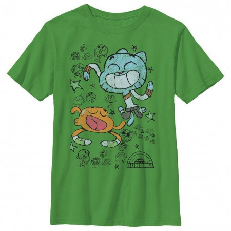 Gumball Scribble Boys Green Youth T-Shirt