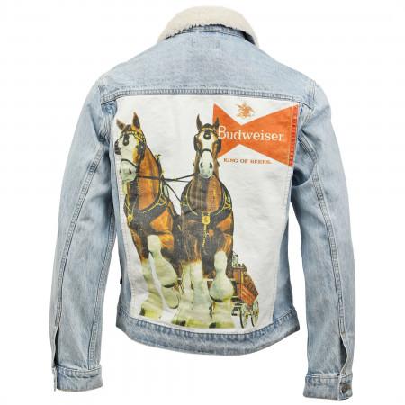 Budweiser Anheuser-Busch Sherpa Trucker Jacket with Clydesdale Print