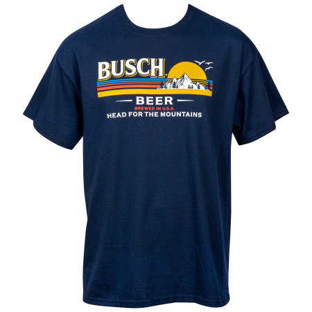 Busch Beer Head for the Mountains Logo T-Shirt