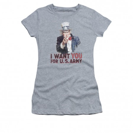 US Army I Want You Gray Juniors T-Shirt