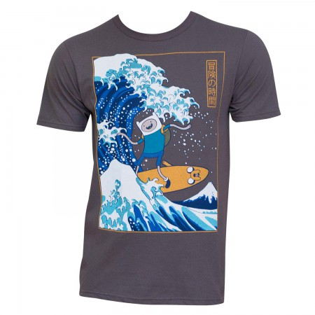 Adventure Time Men's Gray The Great Wave T-Shirt