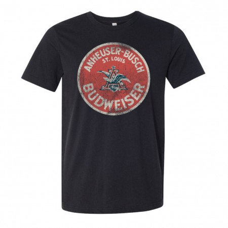 Budweiser Men's Deep Heather Distressed Circle Logo T-Shirt