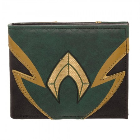 Aquaman Chrome Weld Patch Green Black Wallet