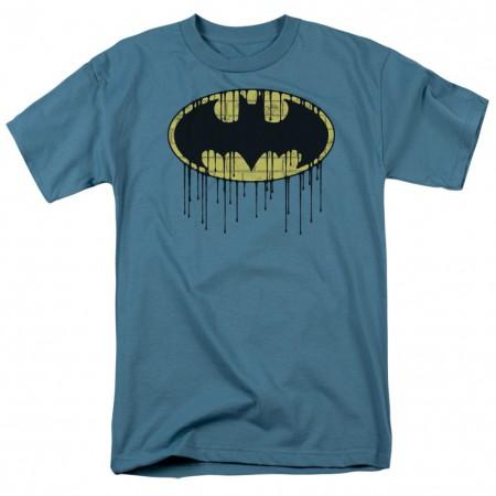 Batman Dripping Logo Men's Slate Blue T-Shirt