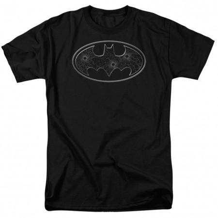 Batman Glass Bullet Hole Logo Men's Black T-Shirt