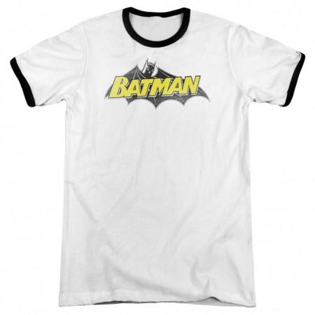 Batman Classic Comic Logo Men's Black And White Ringer T-Shirt