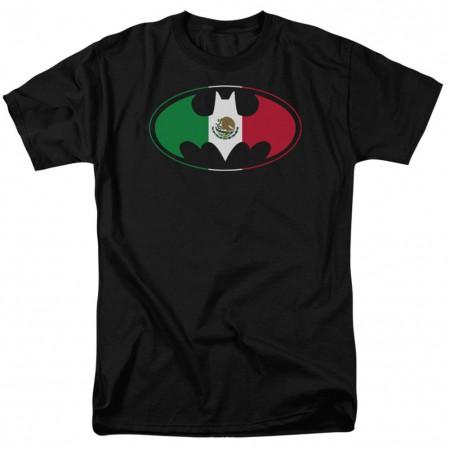 Batman Mexican Flag Logo Black Tshirt