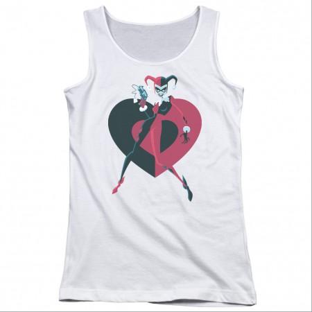 Batman Harley Quinn Heart White Juniors Tank Top