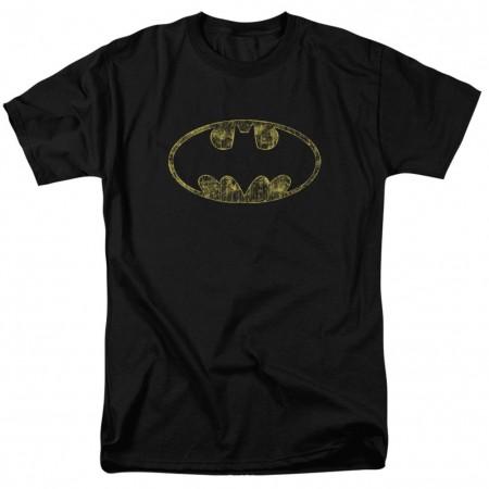 Batman Tattered Logo Men's Black T-Shirt