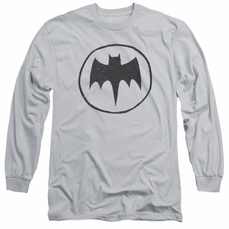 Batman Sketched Logo Men's Grey Long Sleeve Shirt