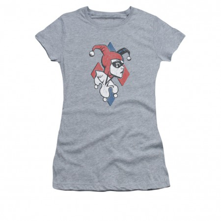 Batman Harley Quinn Profiling Sublimation Gray Juniors T-Shirt