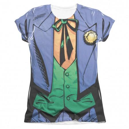 Batman Joker Costume Sublimation Front and Back Print Juniors Tee Shirt
