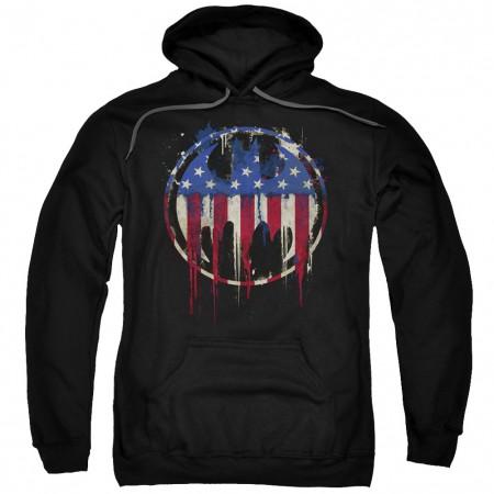 Batman Bleeding American Flag Logo Hoodie