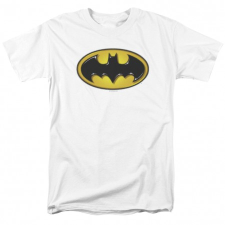 Batman Airbrushed Logo Men's White T-Shirt