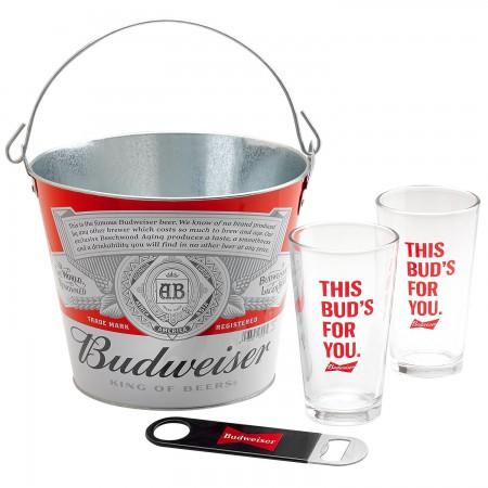 Budweiser Bucket And Pint Glass Gift Set