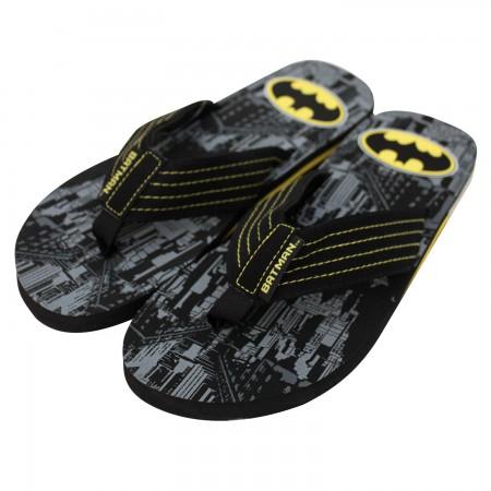 Batman Men's City Print Flip Flops
