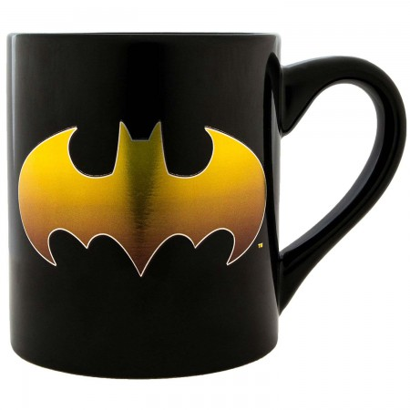 Batman Gold Foil Logo Black 14oz Mug