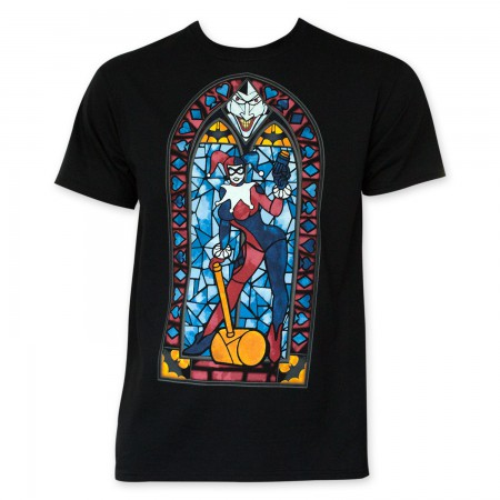 Harley Quinn Black Stained Glass T-Shirt