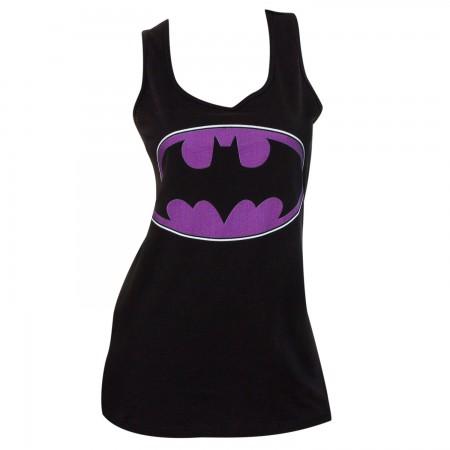 Batman Comic Purple Logo Womens Tank