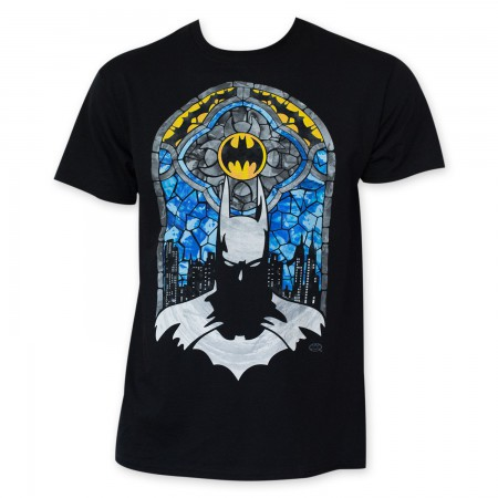 Batman Men's Black Stained Glass T-Shirt