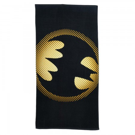 Batman Half Tone Logo Black Beach Towel