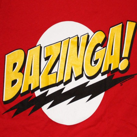 Big Bang Theory Bazinga Red Juniors Graphic T Shirt
