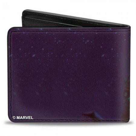 Black Panther Action Pose Purple Grey Bifold Wallet