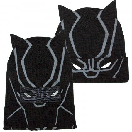 Black Panther Black Pull Down Mask Beanie