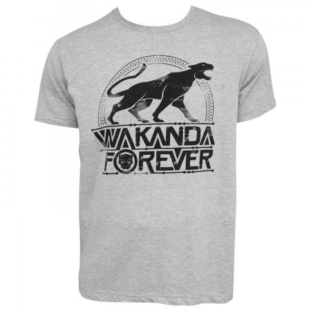 Black Panther Emblem Wakanda Forever Men's Grey T-Shirt