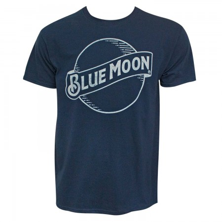 Blue Moon Beer Classic Logo Men's Navy Blue T-Shirt